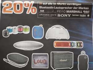 [LOKAL Saturn Karlsruhe] 20% Rabatt auf alle Bluetooth-Lautsprecher der Marken Bowers & Wilkins, Libratone, Peaq, Marshall, Mac Audio, Ultimate Ears, Sony, Harman/Kardon, Bang & Olufsen Play