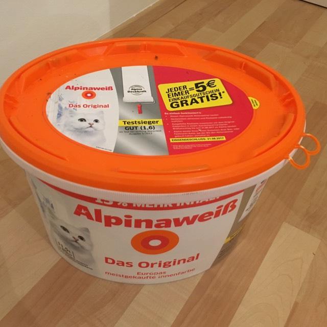 [Bauhaus] Alpina Weiß Original mit Katze 11,5 Liter nur 29,04€ (= 25,25€/10L) + 5€ Einkaufsgutschein