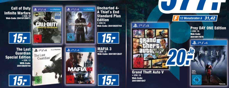 GTA 5 (PS4) // Prey (PS4)(Bei Bielinsky für 15,-€) für je 20,-€ *****The Last Guardian: Special Edition (PS4) // Uncharted 4: A Thief's End (PS4) für je 15,-€**Bis auf GTA 5 auch Online +3,99€ Versand [Expert Bundesweit]