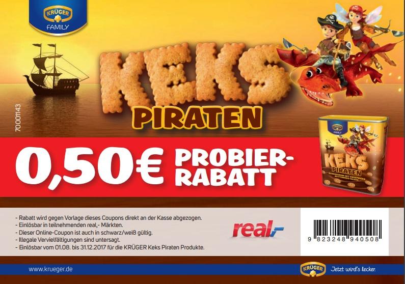[real] 0,50 Euro Rabatt auf Krüger Keks-Piraten