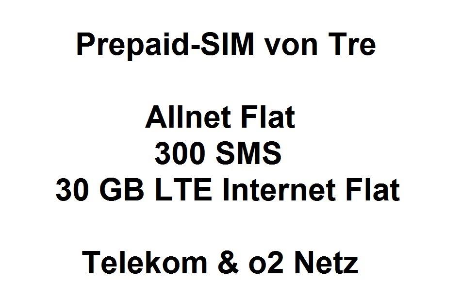 Perfekt für Dual-SIM-Handys: Prepaid-Karte von Tre (Italien) mit Allnet Flat | 300 SMS | bis zu 30GB Internet - nutzbar im dt. Telekom & o2 Netz dank RLH