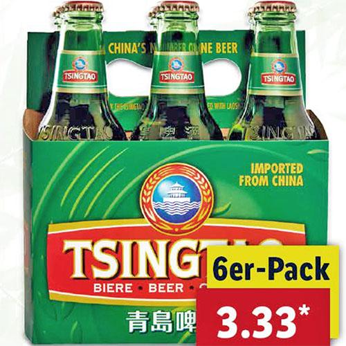 Tsingtao-Bier Sixpack 6x 0,33 Liter für 3,33€ (Lidl)