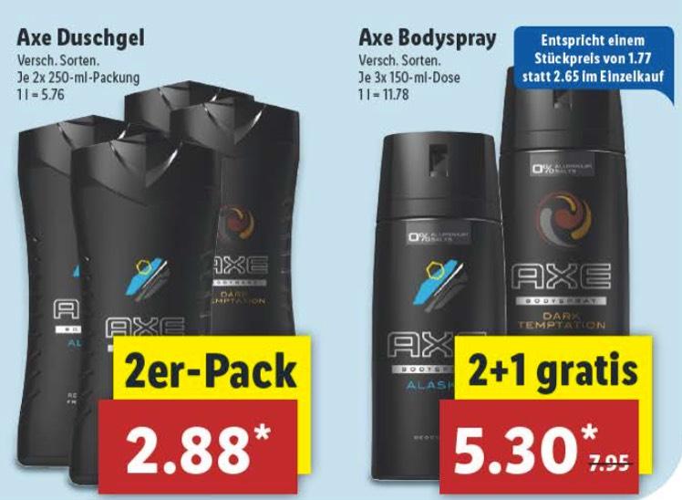 [Lidl offline ab 21.08.] 2 x Axe Duschgel für 2,88€ oder 3 x Axe Deo für 5,30€