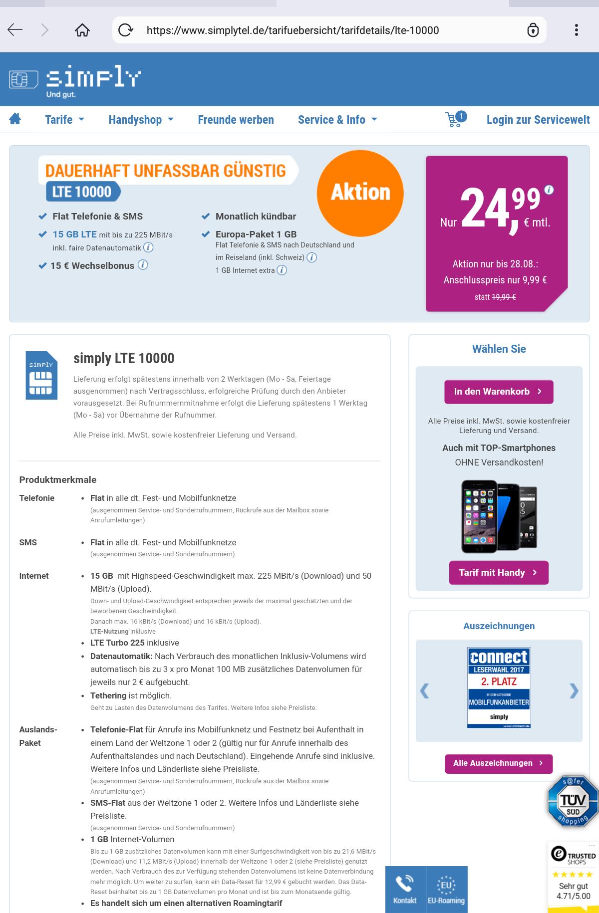 Simplytel (O2 Netz) erhöht 10gb Tarif auf 15gb und die LTE Geschwindigkeit von 50 mbit auf 225 mbit im Download und 50 mbit im Upload. Preis 24,99€ pro Monat und 9,99€ Anschlussgebühr. Monatlich kündbar.