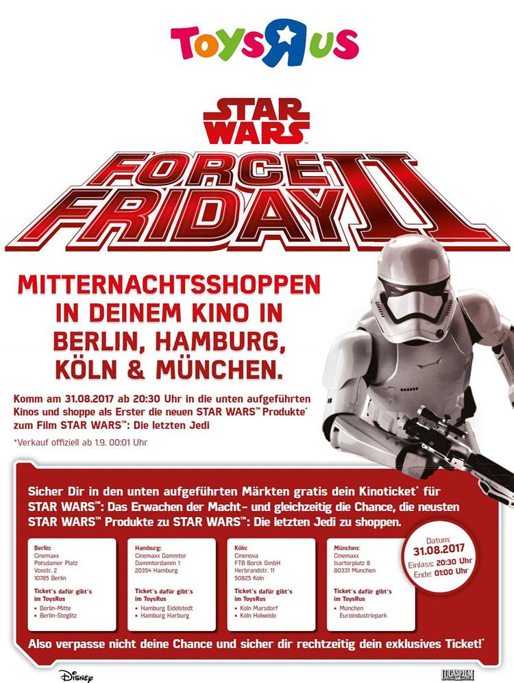 """[Lokal - Berlin, Hamburg, Köln, München] Toysrus - Star Wars Force Friday II - Kostenlos """"Das Erwachen der Macht"""" im Kino schauen"""