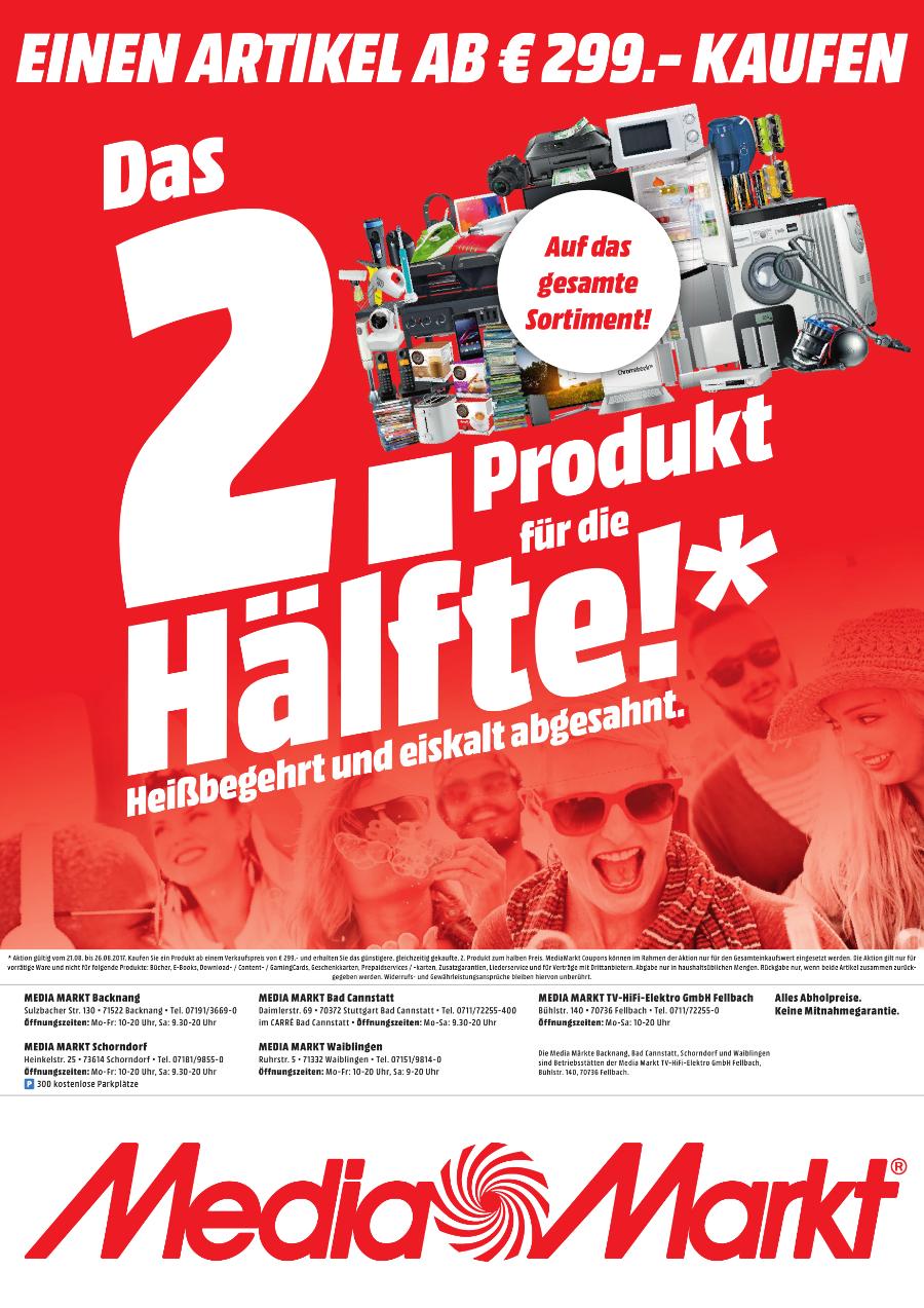 [Lokal Mediamarkt Backnang/Schorndorf/Bad Cannstatt/Waiblingen/Fellbach] Kauf einen Artikel ab 299,-€ und erhalte ein weiteres günstigeres zur Hälfte..Beispiel..2 PS4 Pros zum Preis von 592,50€ (Einzelpreis 296,50)