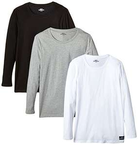 3er Pack Langarmshirt mit Rundhals-Ausschnitt verschiedene Farben [Amazon Prime]