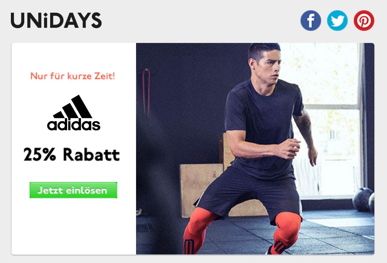 Adidas 25% UniDays deal