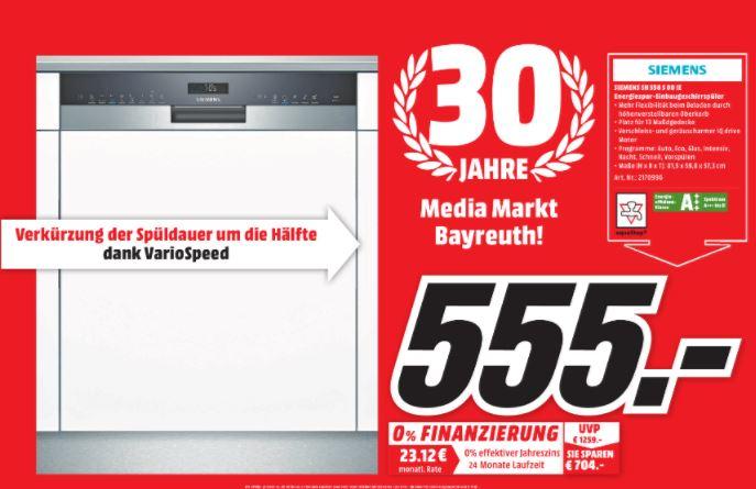 [Media Markt lokal Bayreuth] SIEMENS SN558S00IE Geschirrspüler (teilintegrierbar, 598 mm breit, 44 dB (A), A+++)