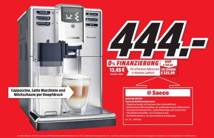 [Media Markt lokal Hallstadt-Bamberg] Philips Saeco HD8917/01 Incanto Kaffeevollautomat, AquaClean, integrierte Milchkaraffe, silber