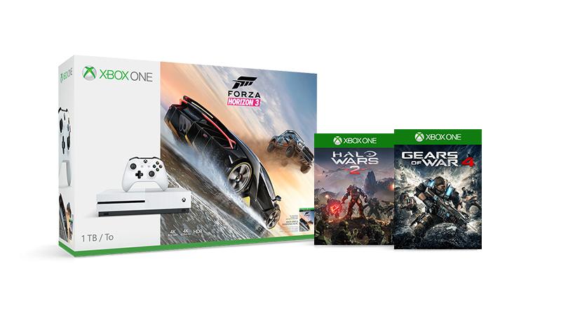 Xbox One S 500GB + Forza Horizon 3 + Halo Wars 2 + Gears of War 4