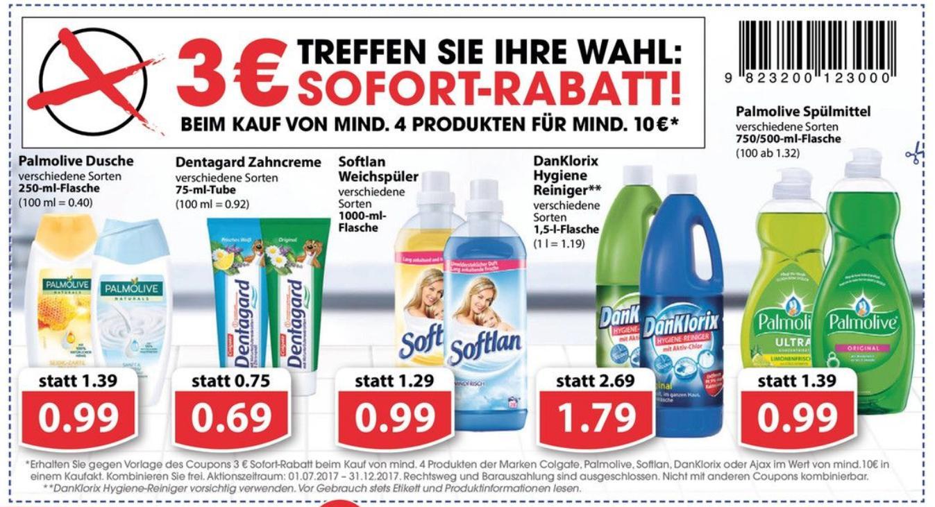 Neuer 3,00€ Coupon für min. 4 Produkte der Marken Ajax/Colgate/DanKlorix/Palmolive im Wert von min. 10,00€ zum Ausdrucken in PDF