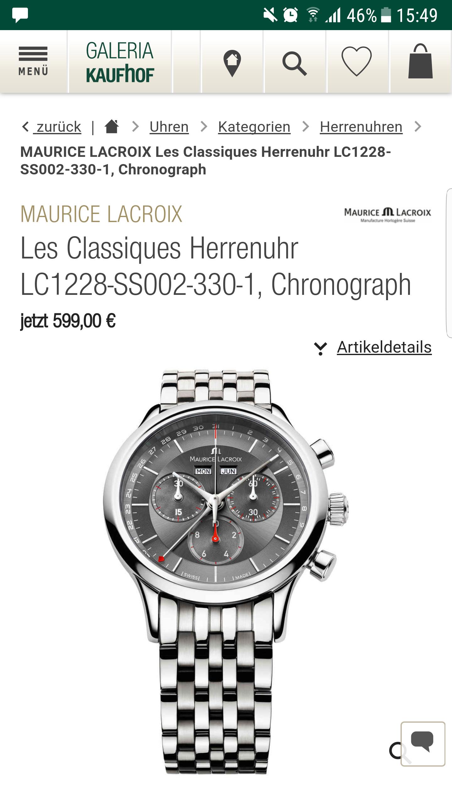 MAURICE LACROIX Les Classiques Herrenuhr LC1228-SS002-330-1, Chronograph [Galeria Kaufhof] Versandkostenfrei