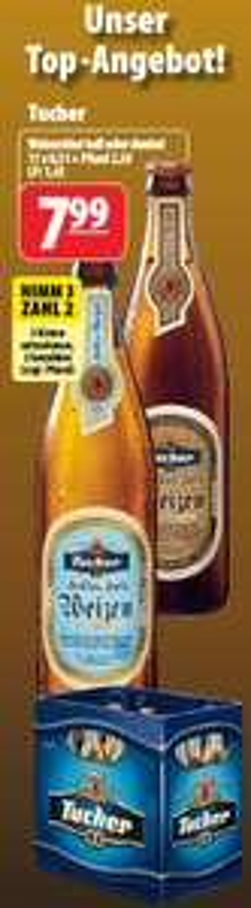 [Getränke Hoffmann] 33x  0,5l Flaschen Tucher Weizen für 15,98€ (entspricht 0,48€ pro Flasche)