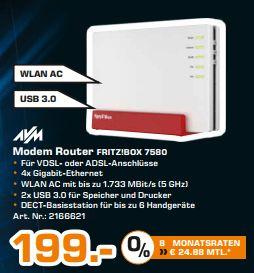 [Lokal Saturn Hamburg/Norderstedt] AVM FRITZ!Box 7580 DSL Router [DVSL/DSL, WLAN AC bis zu 1.733 MBit/s, 4 x Gigabit-Ethernet]  für 199,-€ Ab morgen den 23.08