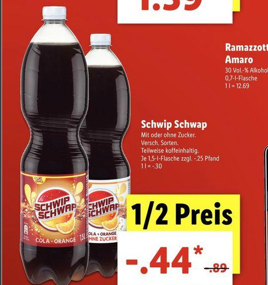 [Lidl ab 28.08] Schwip Schwap 1,5 Liter Flasche für 0,44€