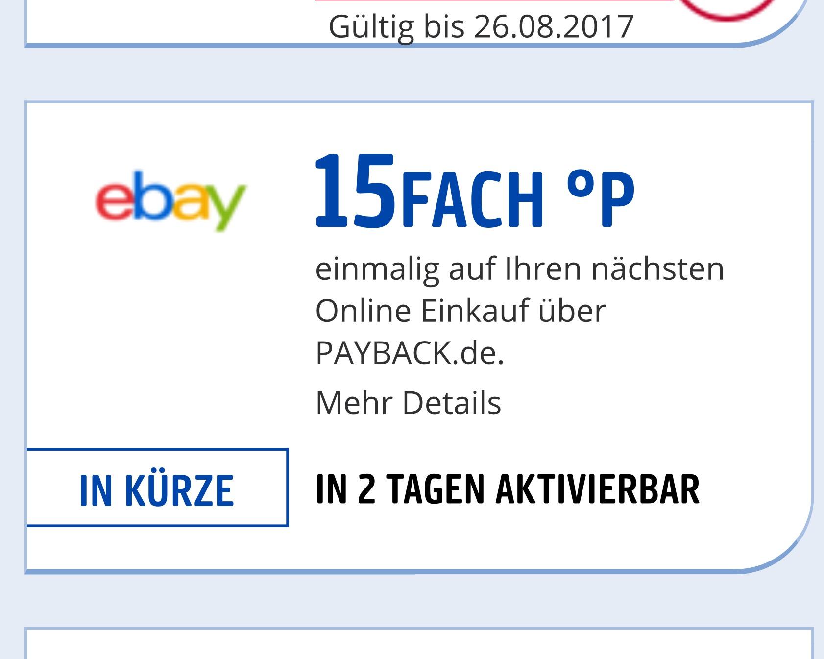 Vorankündigung ( ausgewählte Nutzer ) Payback ebay 15fach Punkte