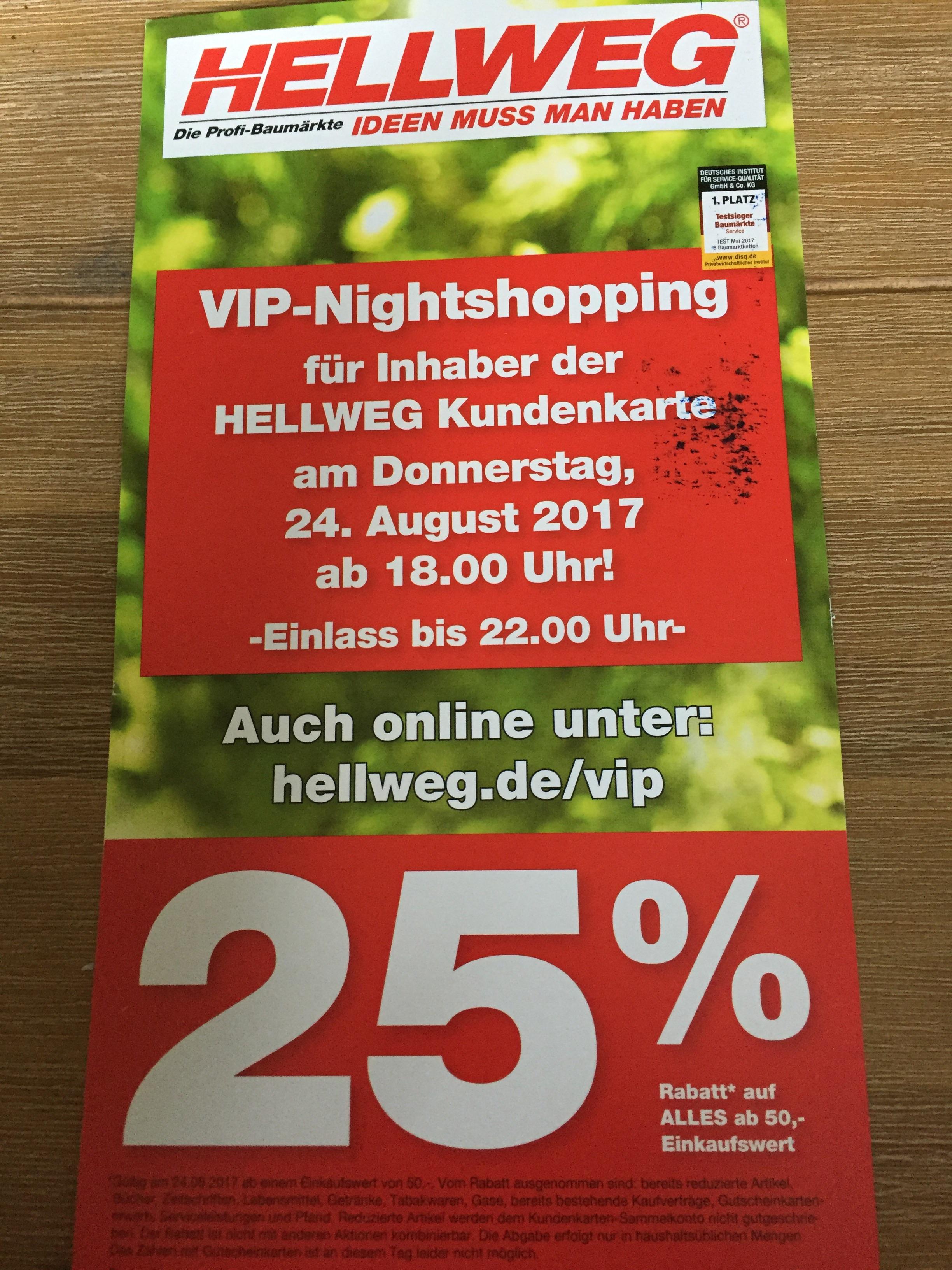 Hellweg 25% auf alles online Bundesweit(Kundenkarte) Heute ab 18 Uhr