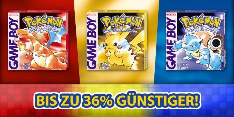 Pokemon rot, gelb und blau für je 6,39€ [Nintendo eShop]