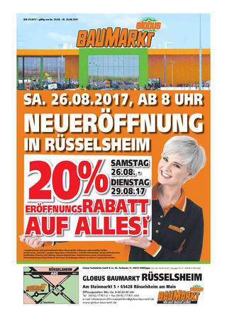 [Lokal] Neueröffnung Globus Baumarkt in Rüsselsheim - 20% Rabatt