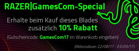 """10% Rabatt auf alle Razer Blade Notebooks bei notebook.de (Gutscheincode: """"Gamescom17"""")"""