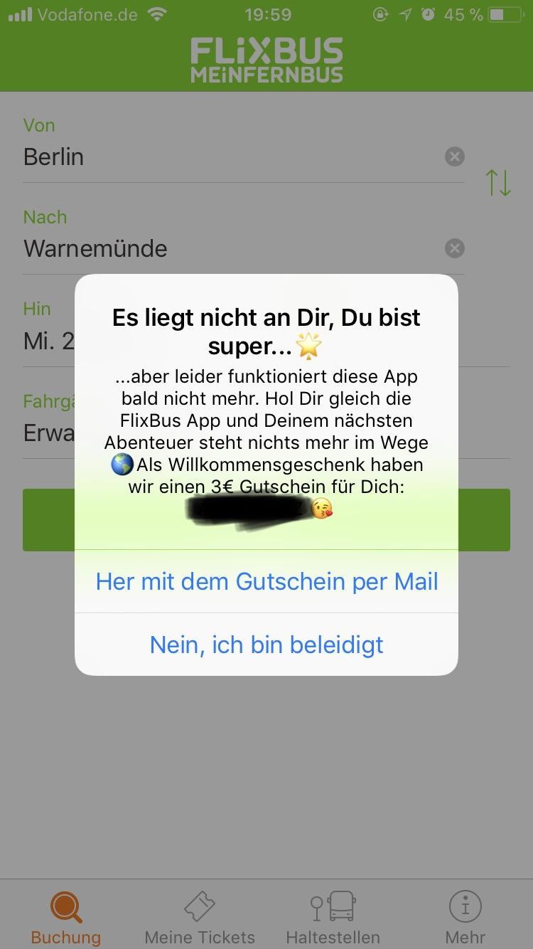 3€ Gutschein über die iOS Meinfernbus App