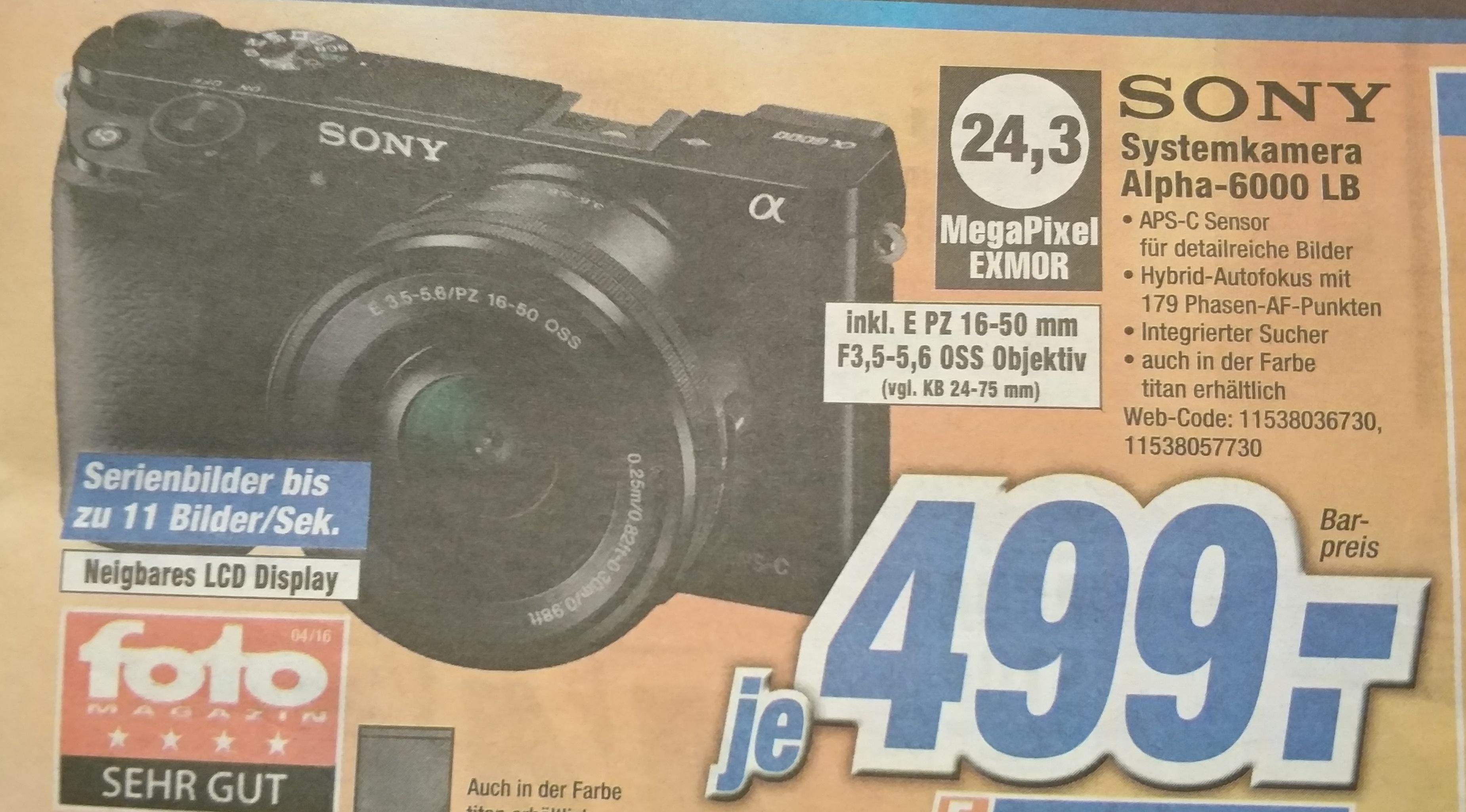 [expert Gröblinghoff NEUSS] Sony Alpha 6000 Kit für 499€