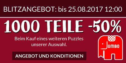 Für Puzzle-Freunde: 50% auf das zweite Puzzle beim Kauf von zwei mindestens 1000 Teile-Puzzeln der Marke Jumbo.