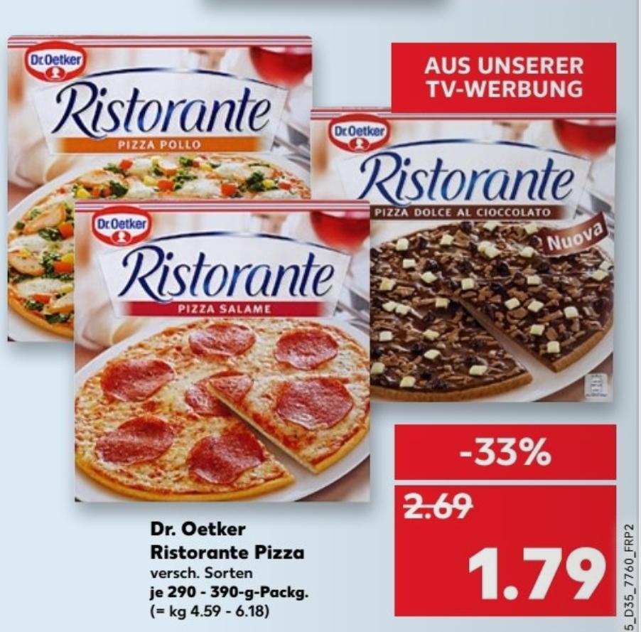 [Kaufland bundesweit ab 31.08] Dr. Oetker Ristorante Pizza (inkl. Dolce)  für 1,79 €