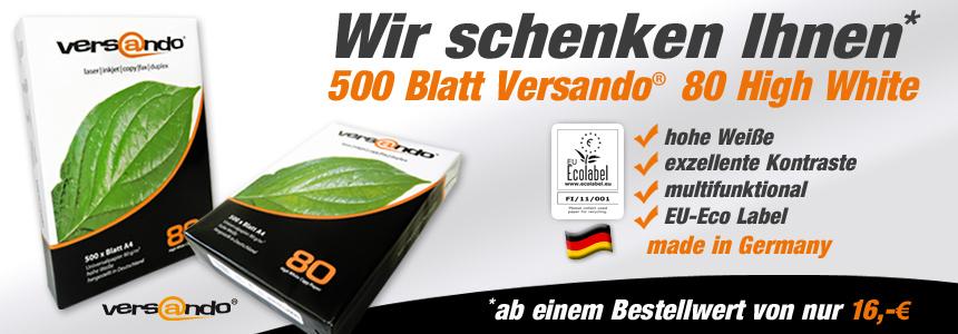 Ab 16 Euro kann man ein Paket Versando 80 High White Kopierpapier Gratis dazu erhalten im Wert von 3,29€