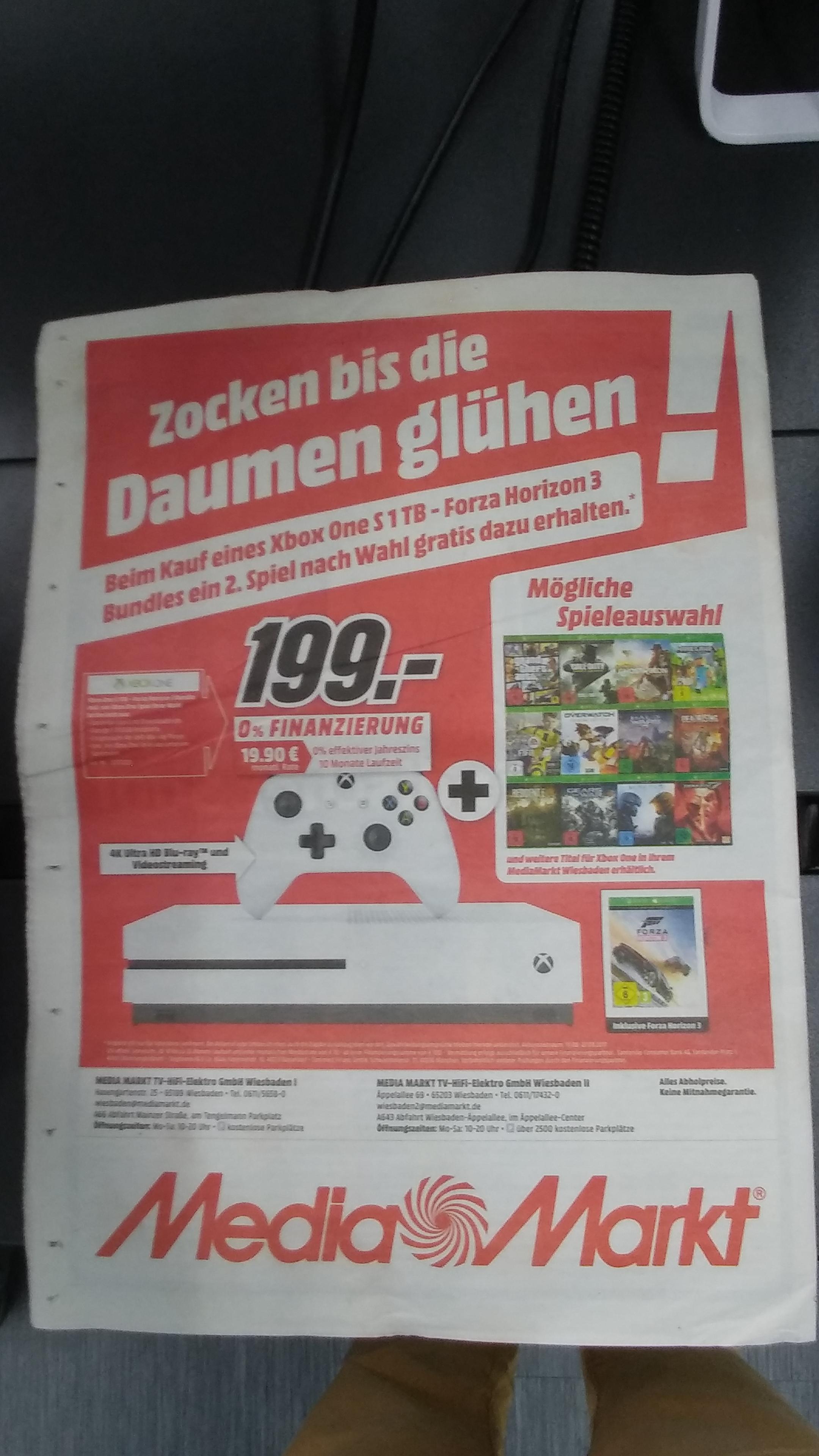 [Lokal Media Markt Wiesbaden 1+2?] XBOX ONE S 1TB inkl. Forza Horizon 3 + ein Spiel nach Wahl