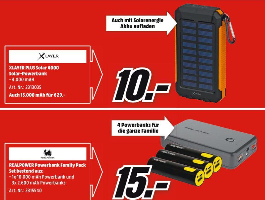 [Mediamarkt ] XLayer Powerbank PLUS Solar schwarz orange 4000 mAh für 10,-€ oder 15000 mAh für 29,-€ //  REALPOWER Family-Pack PB-17800 Mobile Ladegerät 1x 10.000 mAh, 3x 2.600 mAh Schwarz für 15,-€ jeweils bei Abholung