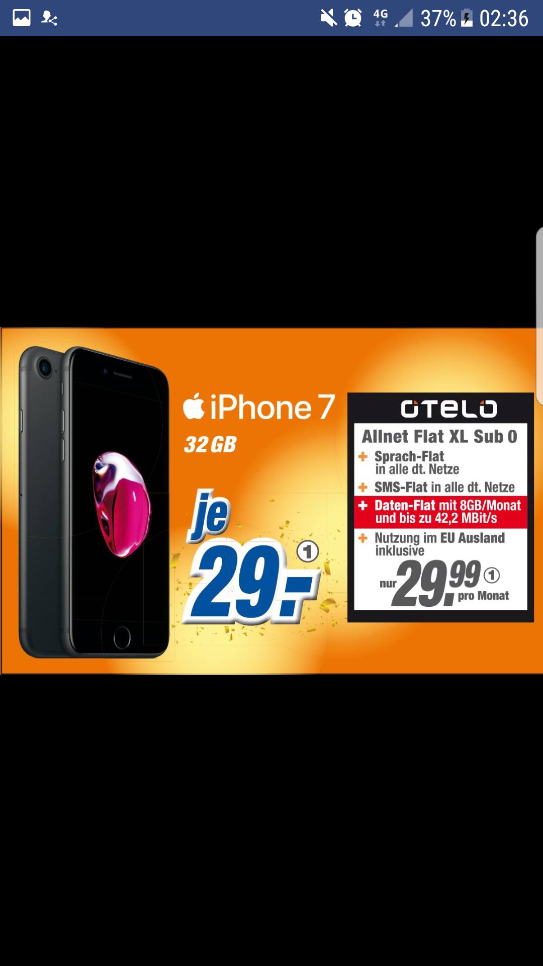 [Expert Hoffmann] iPhone 7 32gb mit 8GB Datenvolumen + Allnet-Flat im Vodafone Netz (Otelo XL) für monatlich 29,99