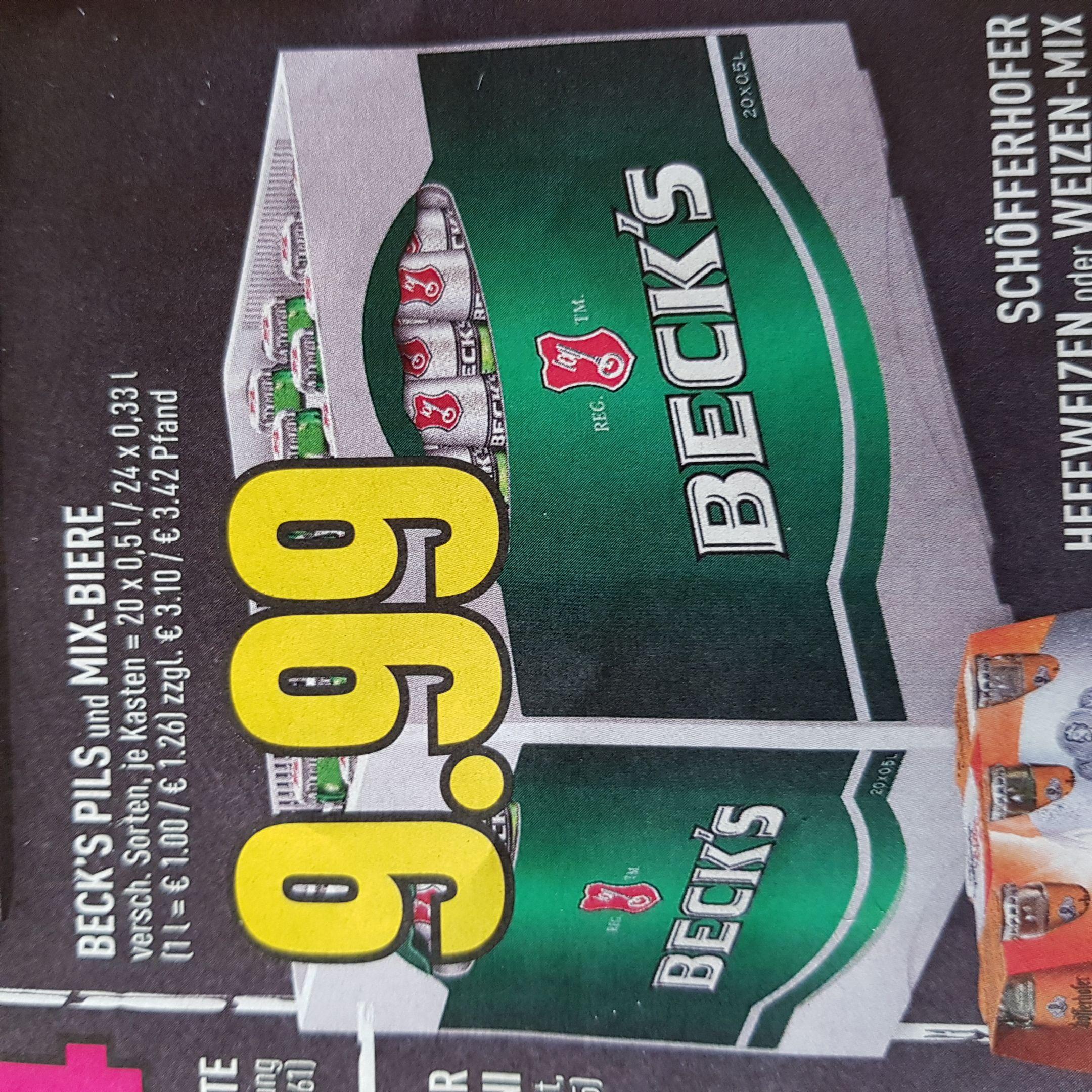 [Edeka Rhein-Ruhr] Beck's Bier oder Mix-Biere pro Kiste 9.99 Euro bei Edeka