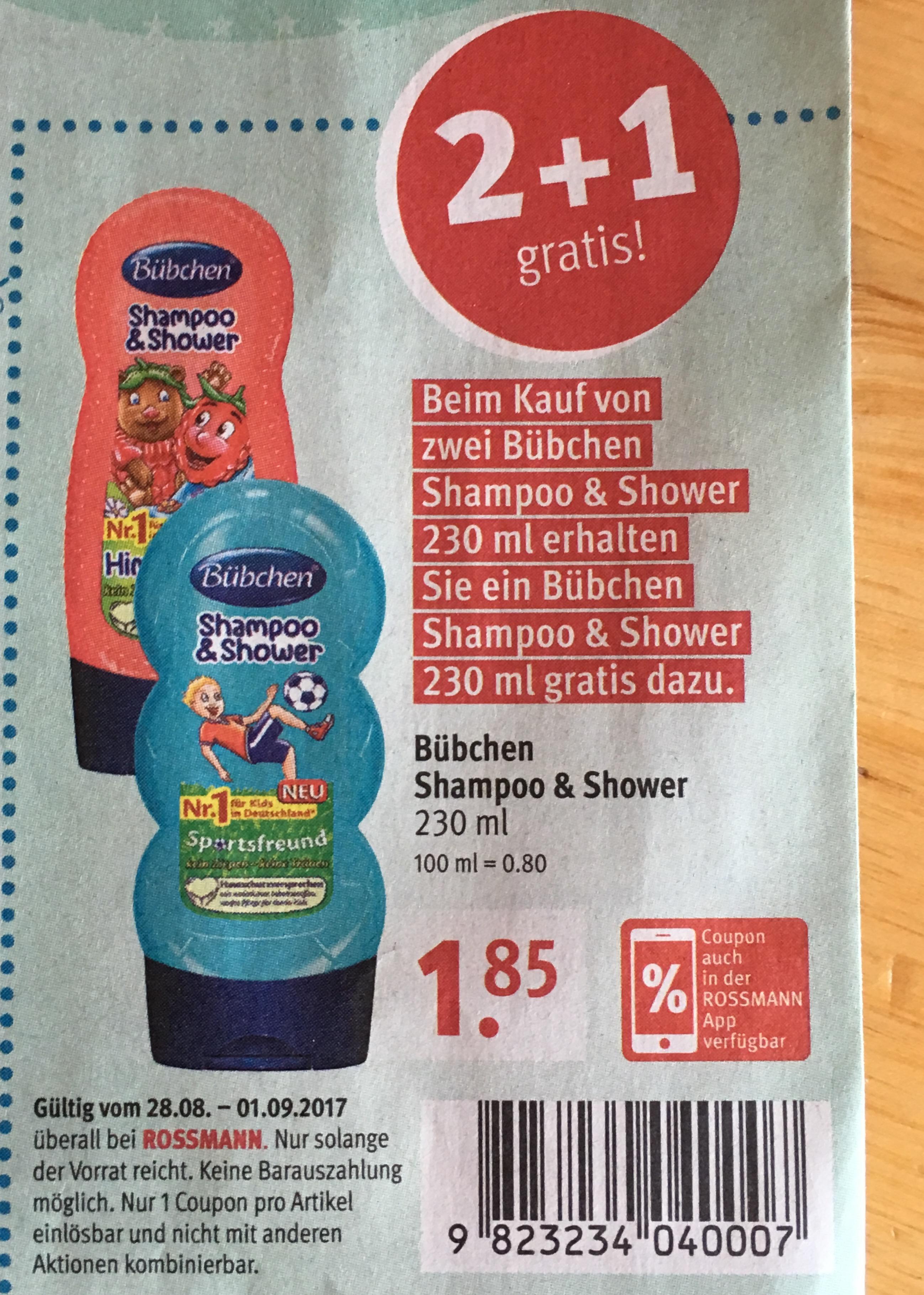 Bübchen 2 + 1 gratis bei Rossmann