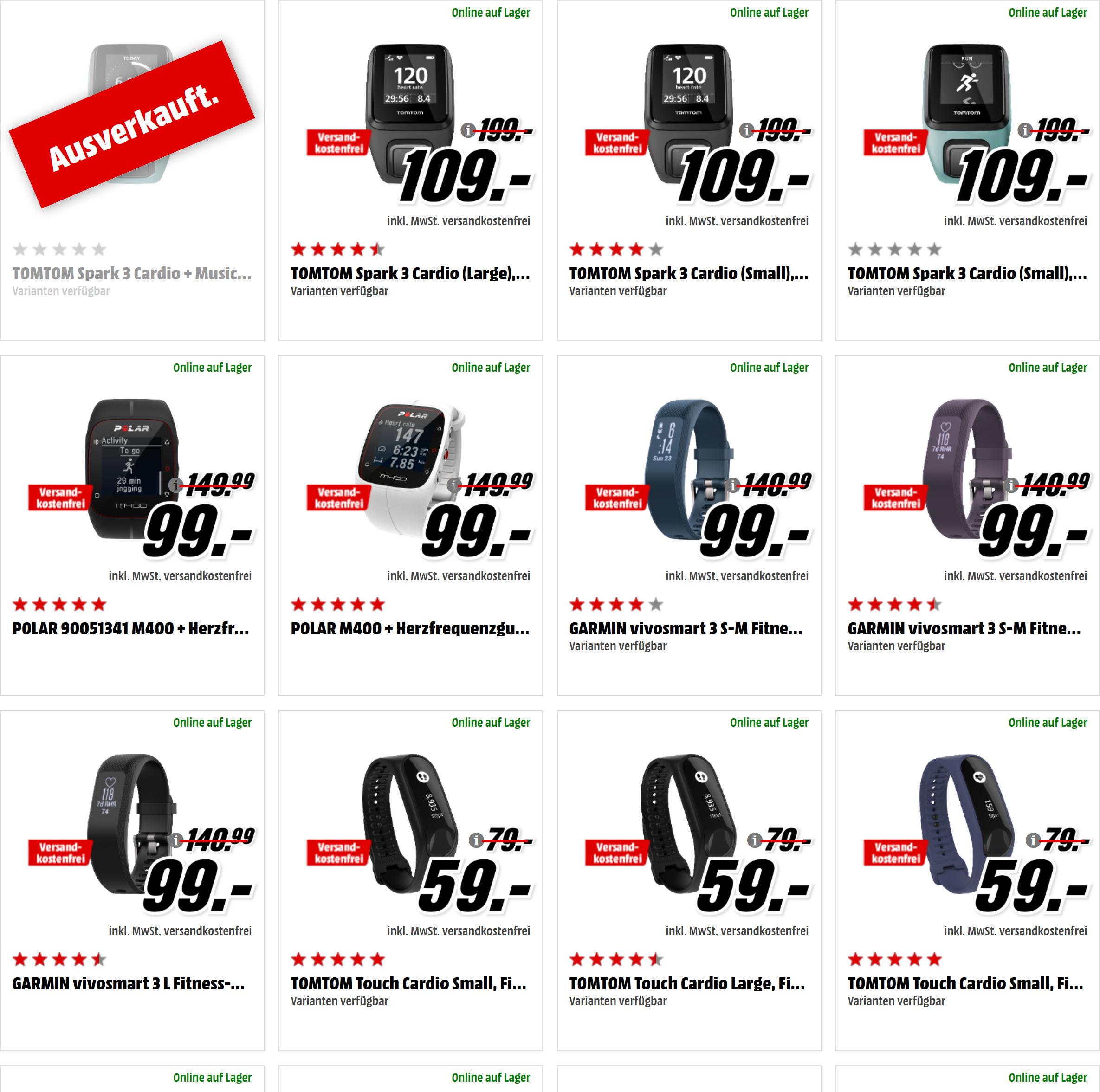 Outdoor-Produkte bei [Mediamarkt] - z.B. Sony SWR 10 Smartband für 15€, Fitbit Charge HR für 35€ & Sony SWR 30 Talkband für 39€