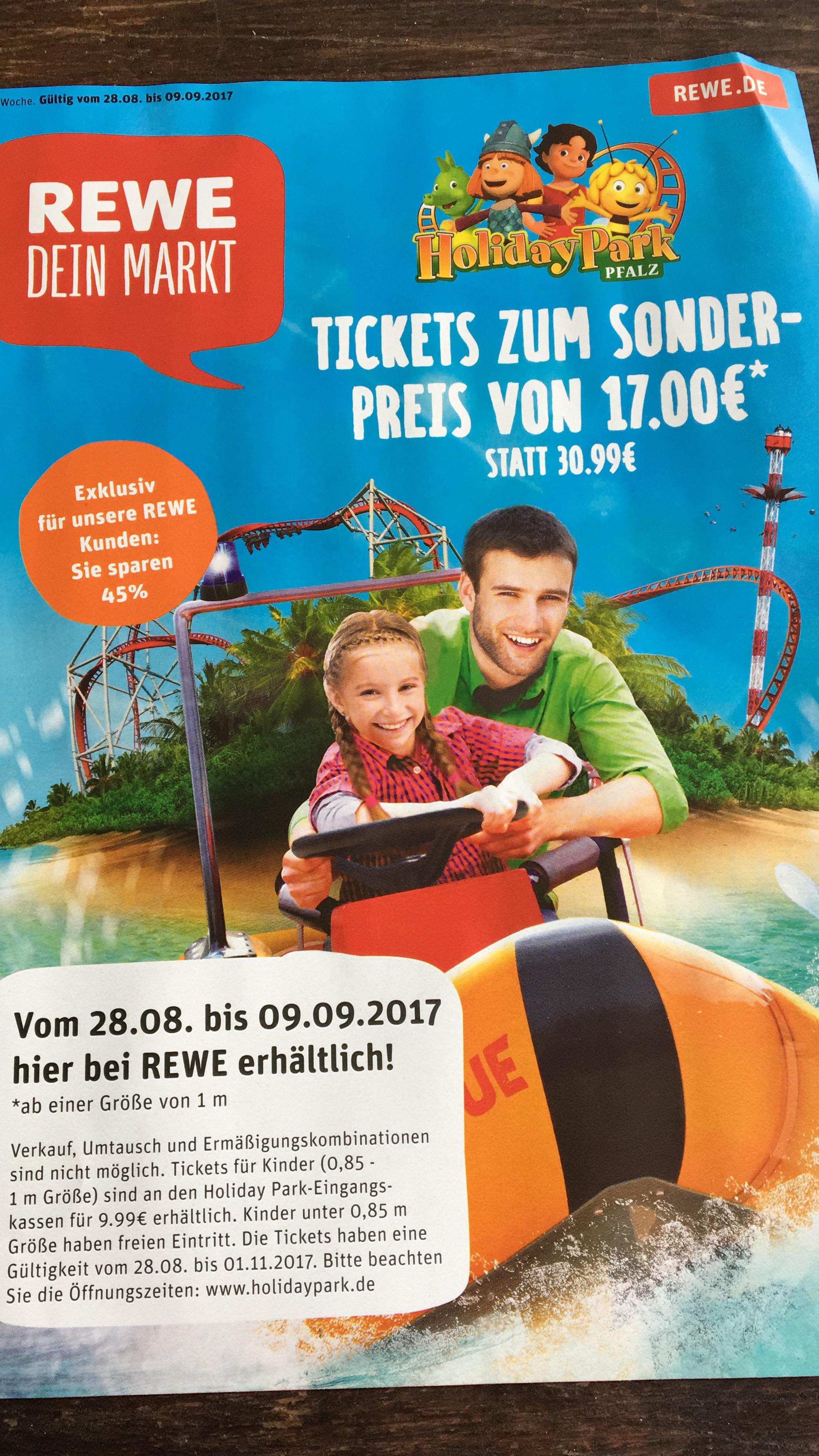 [REWE] HolidayPark Hassloch 17€ statt mind 29€ vom 28.8 bis 1.11