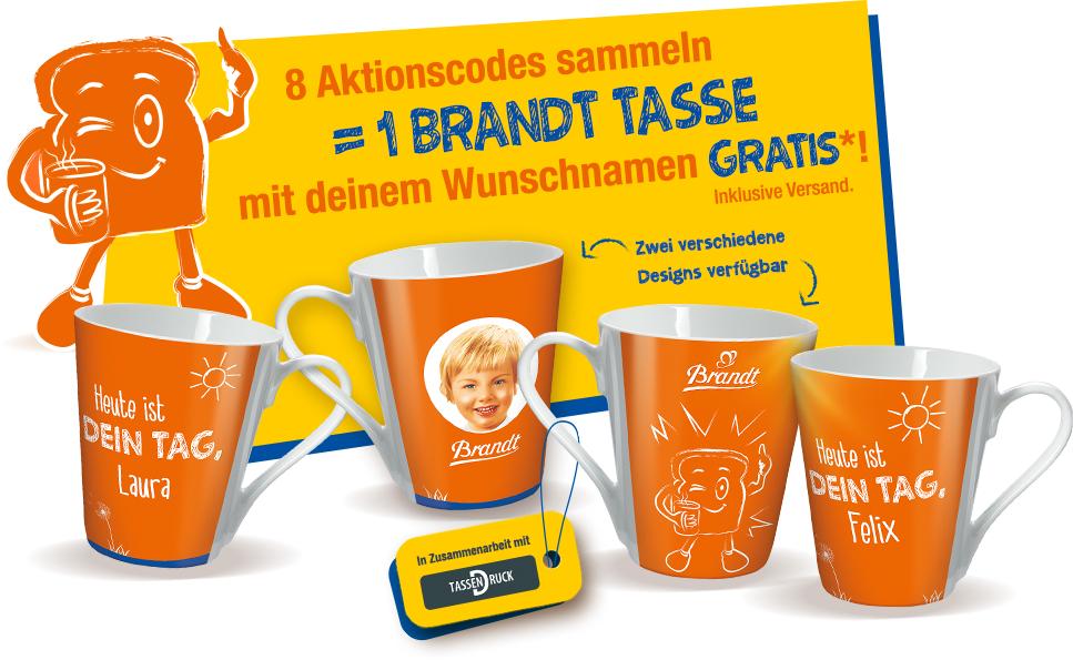 8 Brandt Zwieback AKtionspackungen kaufen, gratis mit Namen personalisierte Tasse erhalten