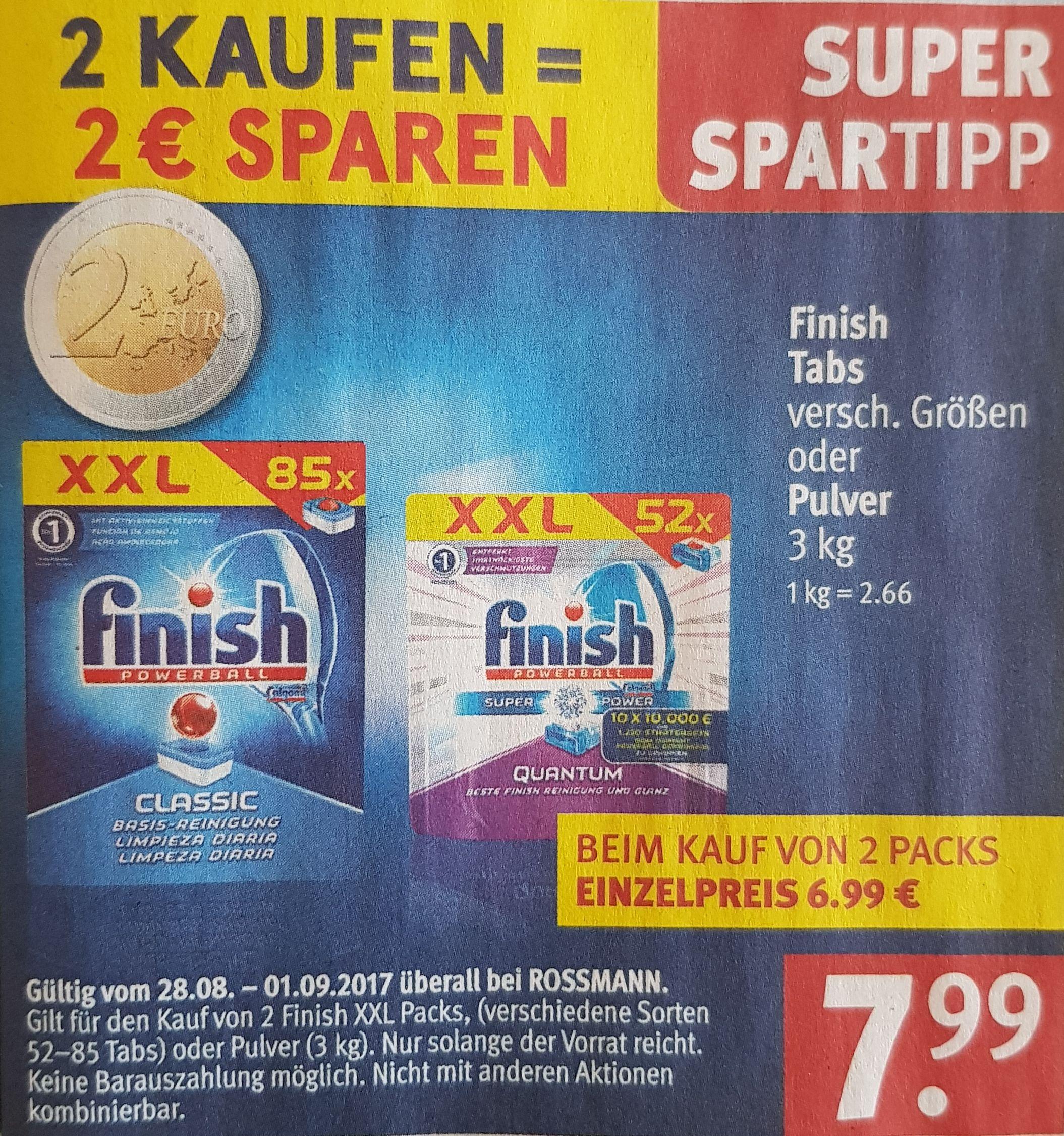 [Rossmann]2x Finish XXL Packs(170 St.) für 12,58€ (7,4 Cent/Stück)