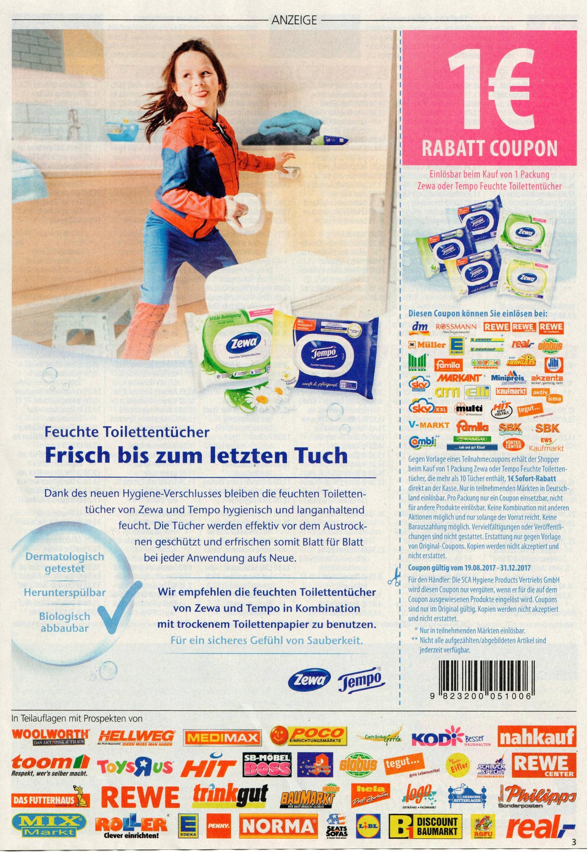 [Einkauf Aktuell] Neuer -1,00€ Coupon für Tempo bzw. Zewa Feuchte Toilettentücher bis 31.12.2017 [Bundesweit]