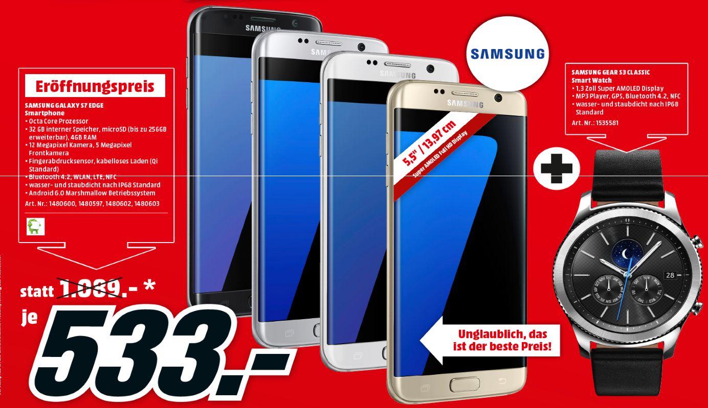 [Lokal Mediamarkt Innsbruck /Österreich] Samsung Galaxy S7 Edge (Alle Farben) inc. Samsung Gear S3 Classic für 533,-€