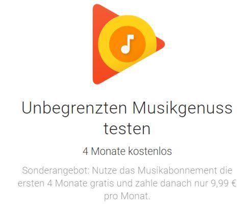 4 Monate Google Play Music kostenlos statt 4 x 9,99€