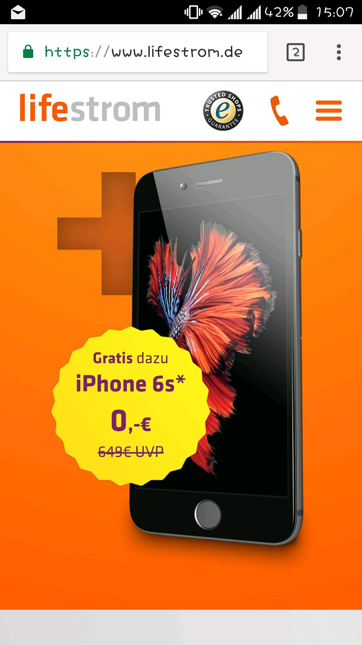 Apple iPhone 6s gratis bei Abschluss eines Strom- oder Gasvertrags