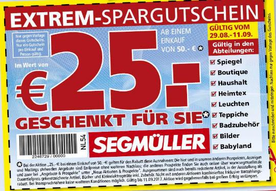 Segmüller: 25€ bei 50€