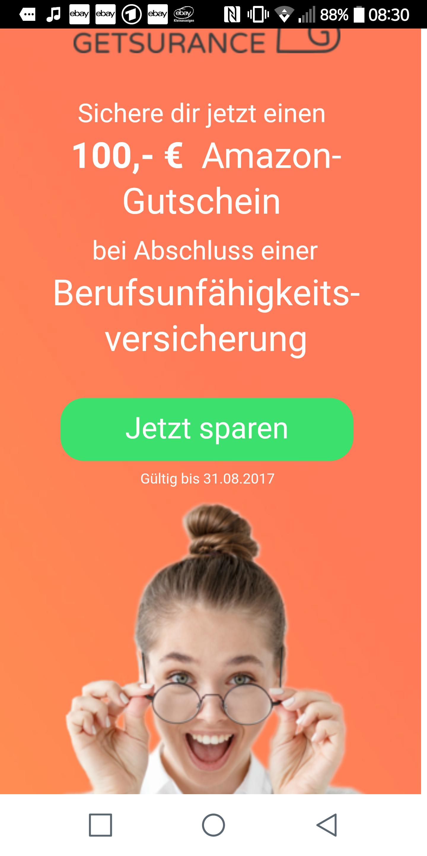 Getsurance Berufsunfähigkeitsversicherung inkl. 100€ Amazon Gutschein