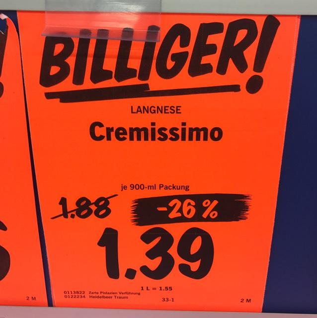 [LIDL bundesweit] Langnese Cremissimo Eis 900ml Tiramisu, Heidelbeere oder Pistazie reduziert auf 1,39€