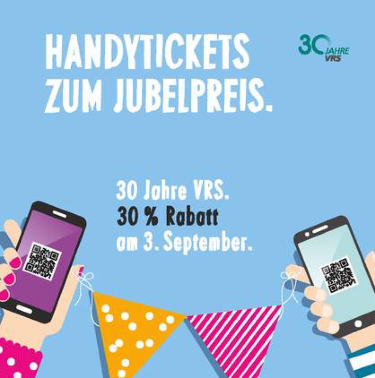 30% Rabatt auf Bus und Bahn (VRS Handyticket) am 03.09