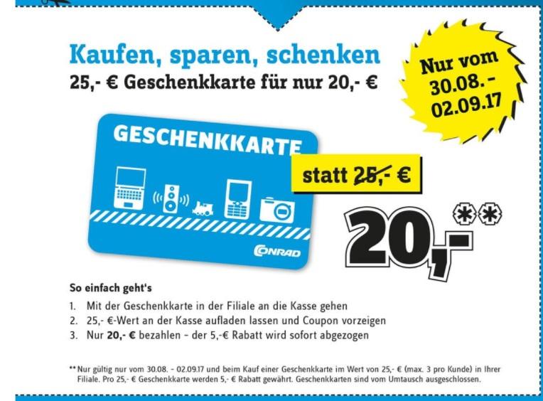 [Conrad] Jubiläumsangebote: 25€-Geschenkkarte für 20€ (vom 30.08. - 02.09. in der Filiale) + versandkostenfreie Lieferung im September (ab 29€)