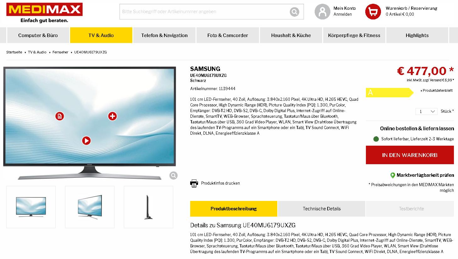 [Medimax] Neueste Baureihe Samsung UE40 MU6179 UXZG zum Knallerpreis!!! Nur diese Woche!!!