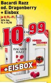 Bacardi Razz oder Dragonberry + Eisbox für 10,99€ bei trinkgut